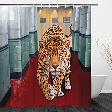 BLEUM CADE Leopard Shower Curtain Hallway Animal Modern Style Durable