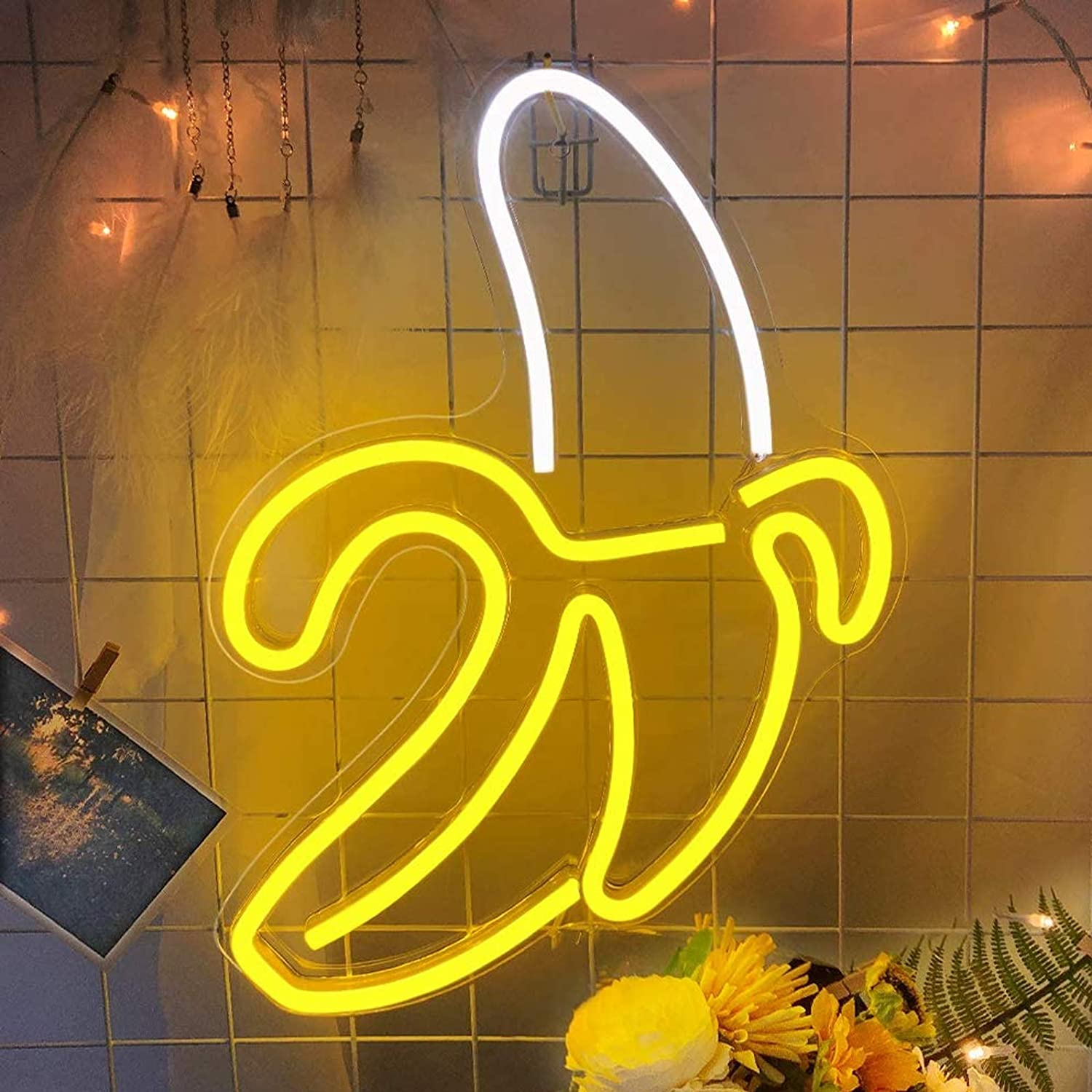 iceagle Banana LED Neon Sign for Wall Decor,USB Decor LED Signs,Neon Lights for Bedroom,Light Up Signs Decorative Neon Light Sign for Home,Christmas,Party,Kids Living Room