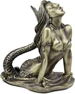 "Ebros Aged Bronze Resin Seductive Siren of The Seas Mermaid Statue 7"" Tall Nautical Coastal Ocean Sea Decor Figurine Sirens Luring Maidens Mermaids of The Dark Waters Fantasy Sculpture"