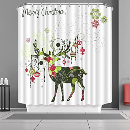 Christmas Bathroom Curtains.Vancar Waterproof Bathroom Decor Custom Xmas Merry Christmas Shower Curtain Sets With Hooks 66 X72 Colorful Reindeer Pattern Print