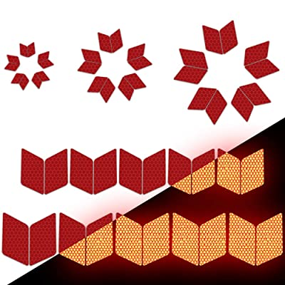 Longzhimei Reflective Stickers Safety Warning Tape Reflective Tape Self-Adhesive for Helmets Bicycles Strollers Wheelchairs and More - Pack of 25 Red: Automotive