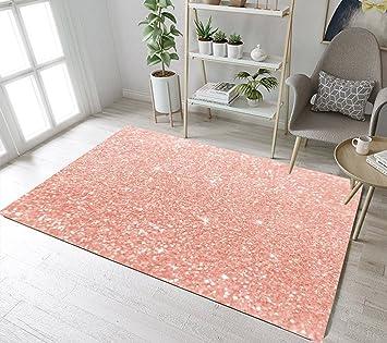 14e0bf3107 Amazon.com: LB Rose Gold Area Rug with Glitter Stars Design,Non-Slip ...