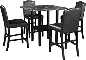 5 Piece Dining Set with Matching Chairs and Bottom Shelf for Dining Room, Black Chair+Black Table