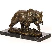 Escultura de bronce - Oso grizzly con pez - Estilo antiguo