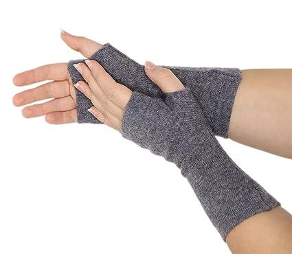 e1cd19842f0b3c Prettystern Pulswärmer Unifarbe Handschuhe Fingerlos Hand-fingerlose  Stulpen 100% Kaschmir Weich Warm Grau