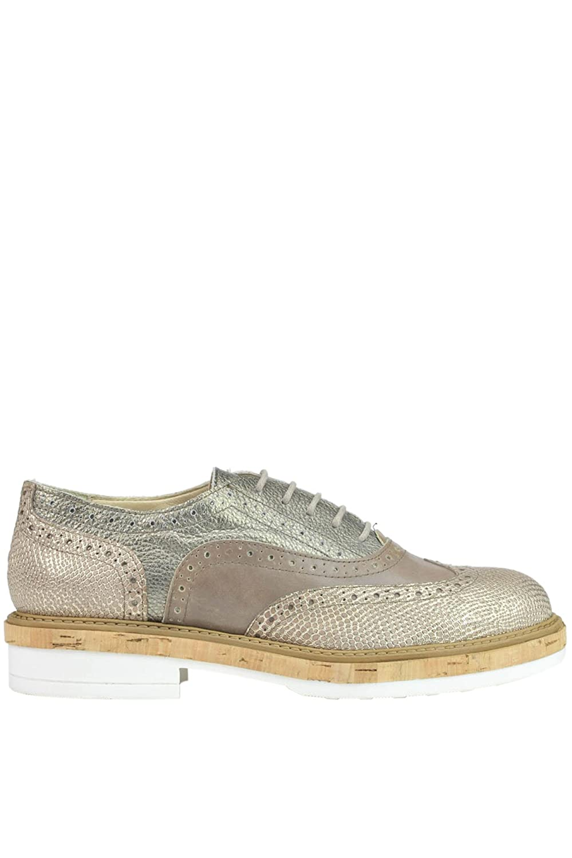 Manas Mujer MCGLCAB03014E Gris Cuero Zapatos De Cordones 39 IT - Tamaño de la Marca 39