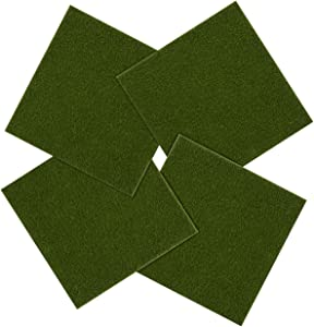LIHAO 4 Piece 6''x6''Life-Like Artificial Grass for Miniature Ornaments DIY Fairy Garden Dollhouse Decoration