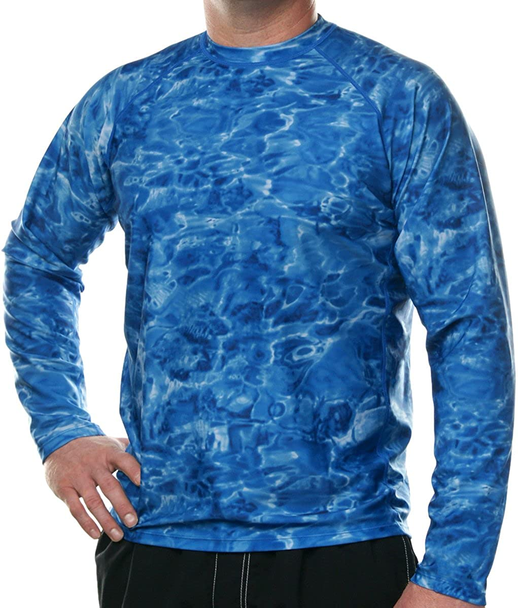 Mens Swim Rashguard Shirts Loose Fit Long Sleeve Sun Protection Rash Guard Aqua Design