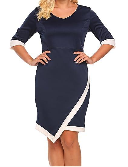 961c0a447e Zeagoo Women Plus Size Asymmetric Knee Length Dress Wear to Work Party Slim Bodycon  Dress at Amazon Women s Clothing store