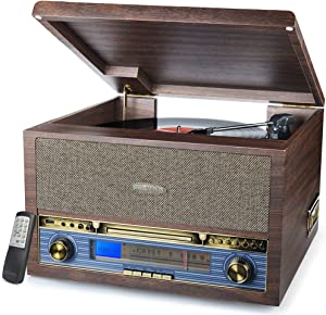 Record Player Turntable Bluetooth 3-Speed Vinyl CD MP3 FM Radio USB Cassette Player with Speakers Vinyl to MP3 Recording LP Player, 13-in-1 Classic Wooden Turntable …