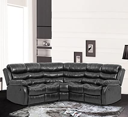 BestMassage Recliner Sofa Sectional Sofa With Recliner For Home Living Room  With 2 Reclining Seat Large