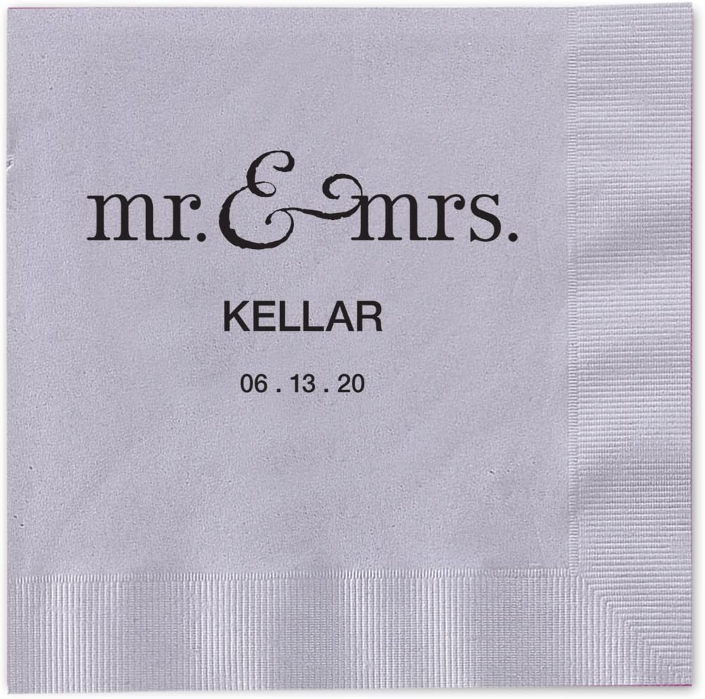 """Canopy Street Mr and Mrs Personalized Cocktail Napkins / 100 Silver Gray 3-Ply Paper 4 ¾"""" x 4 ¾"""" Beverage Napkins with Choice of Foil"""