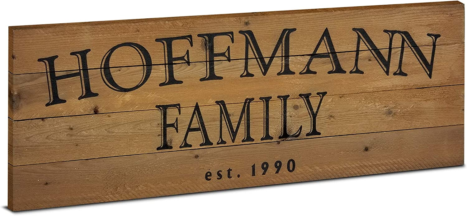 MY VINTAGE FINDS Personalized Wooden Family Name Sign Rustic Wood Home Wall Decor