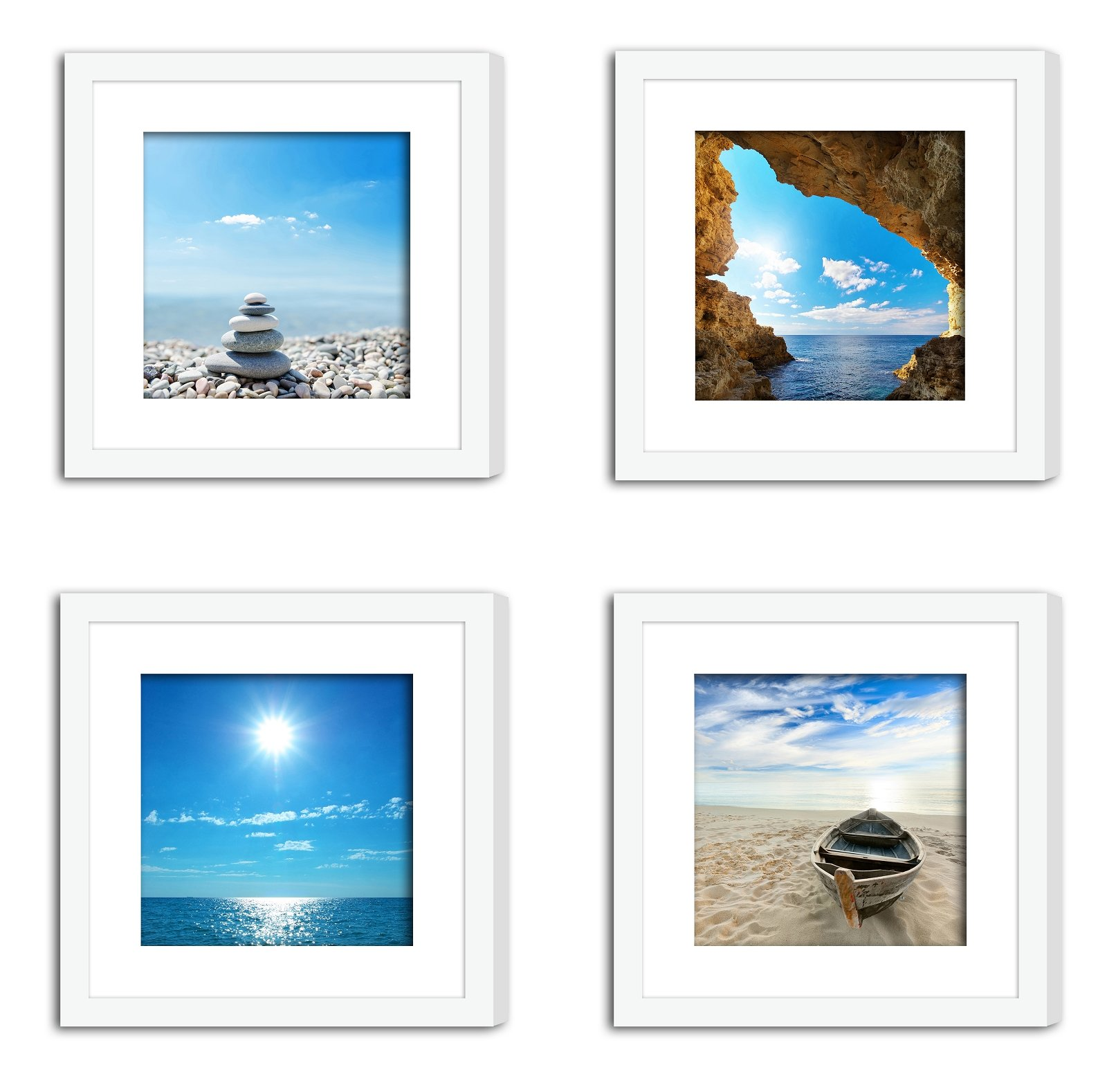 XUFLY 4Pcs 11x11 Tempered Glass Wood Frame White, with 2X Mat Fit for 8x8 4x4 inch Family Photo Picture, Desktop On Wall Square Support Office Decoration Sky Sea Cave Beach Yoga Stone (17) by XUFLY