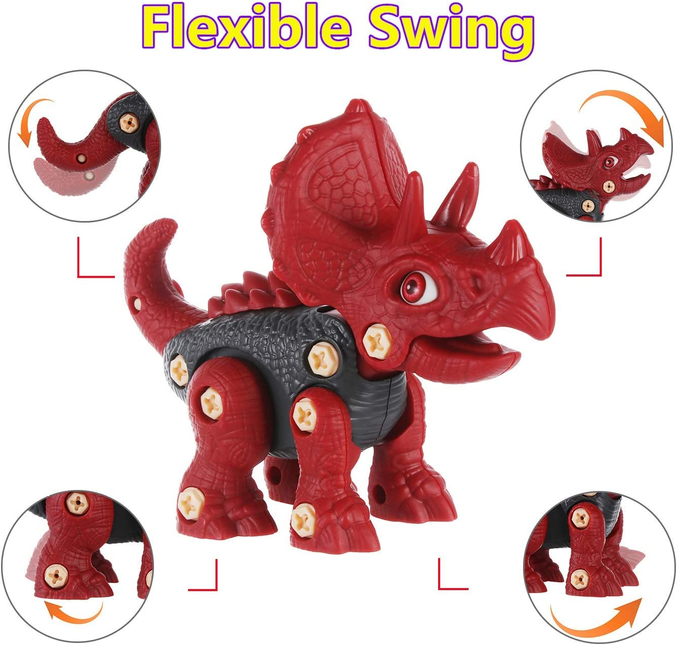 DYJKOUG Take Apart Dinosaur Toys for Kids 3 Packs STEM Toys with Electric Drill and Plastic Screwdriver Best Gift for 3 4 5 6 7 Years Old Boys and Girls