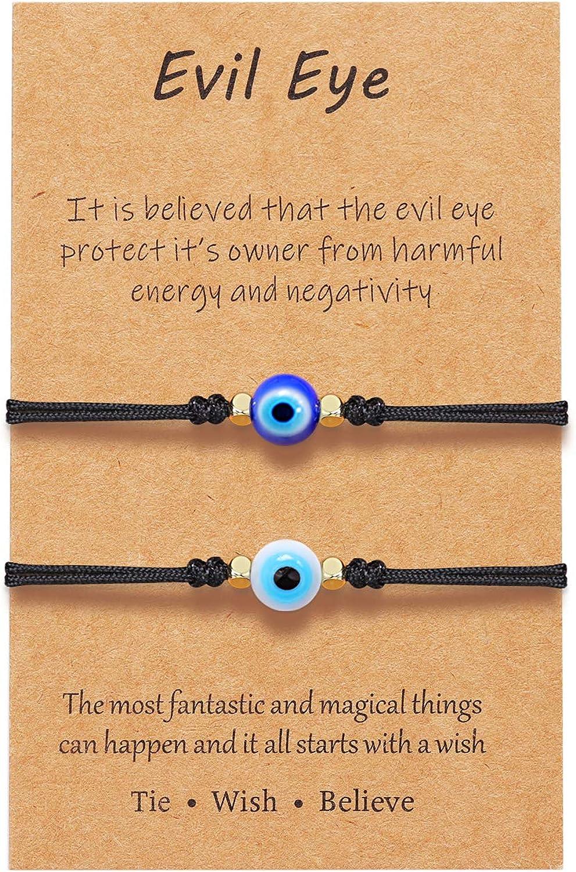 UNGENT THEM Evil Eye Bracelet Ankle Adjustable Ojo Turco Red String Kabbalah Protection Good Luck Nazar Bracelets for Women Men Family Friends 2/3/6 pcs