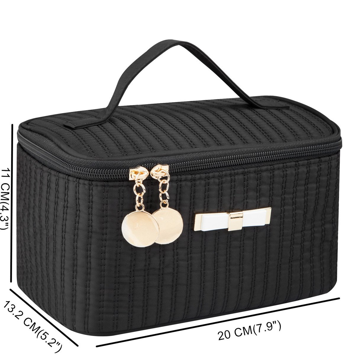 Portable Cosmetic Toiletry Small Size Bags Makeup Travel Bags with Mirror (Black)