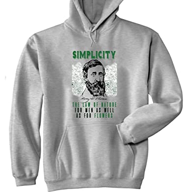 Teesquare1st Mens Henry David Thoreau Simplicity Quote Grey Hoodie