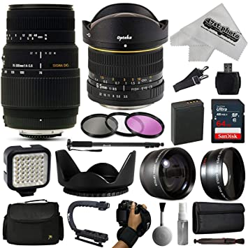 Opteka 6,5 mm + 70 - 300 mm lente Kit con 64 GB para Canon EOS ...