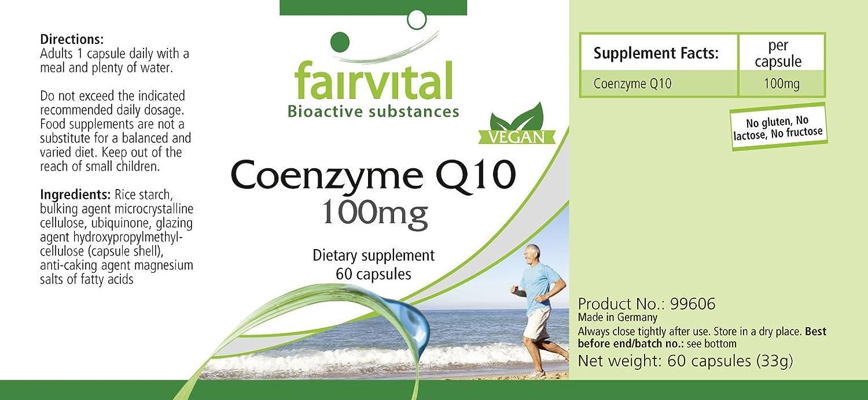 Co-enzima Q10 100mg - VEGANO - Altamente dosificado - 60 ...
