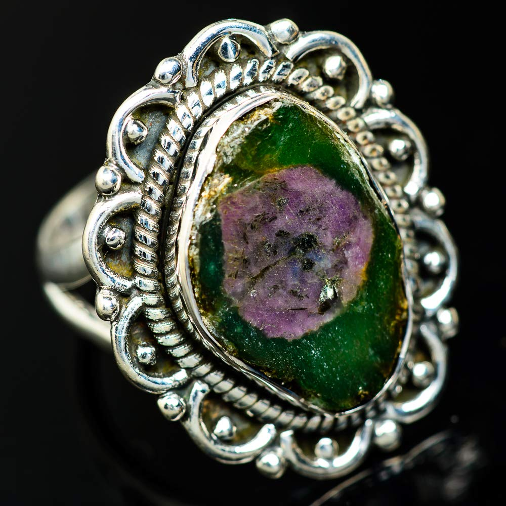Ana Silver Co Ruby Fuchsite Ring Size 7.5 Bohemian - Handmade Jewelry 925 Sterling Silver Vintage RING936929