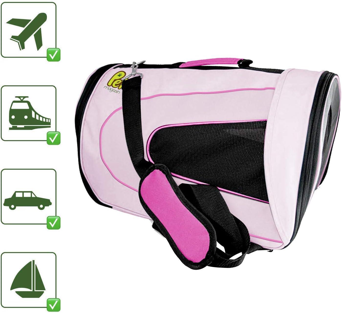 PET MAGASIN Transportín de Mascotas Plegable – Bolsa de Transporte Acolchada con Lados Blandos – Bolso de Viaje para Perros pequeños, Gatos y Cachorros, ventilación Superior (Grande, Pink)