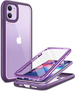 YOUMAKER [2021 Upgraded] Aegis Series for iPhone 11 Case, Full-Body Heavy Duty Protection with Built-in Screen Protector Shockproof Rugged Clear Case for iPhone 11 6.1 Inch - Purple