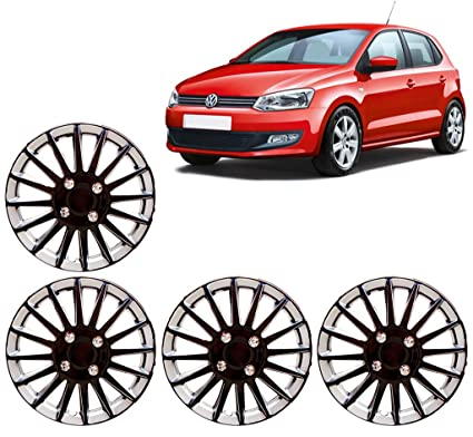 Auto Pearl - Premium Quality Car Full Wheel Cover Caps Black and Silver 14 Inches Press TypeFor - Volkswagen Polo: Amazon.in: Car & Motorbike