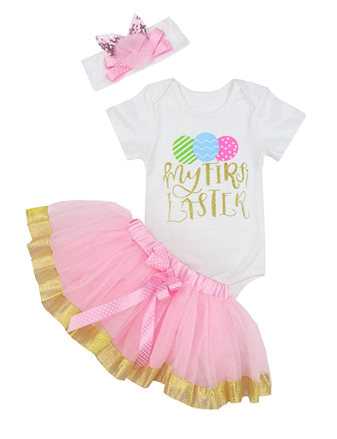 23fea0db5365 Amazon.com  My 1st Easter Baby Girl Outfit Newborn Egg Romper Tutu Dress  with Headband Easter Skirt Sets  Clothing