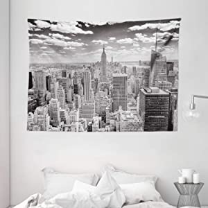 """Ambesonne New York Tapestry, NYC Over Manhattan from Top of Skyscrapers Urban Global Culture City Panorama, Wide Wall Hanging for Bedroom Living Room Dorm, 80"""" X 60"""", Grey Monochrome"""