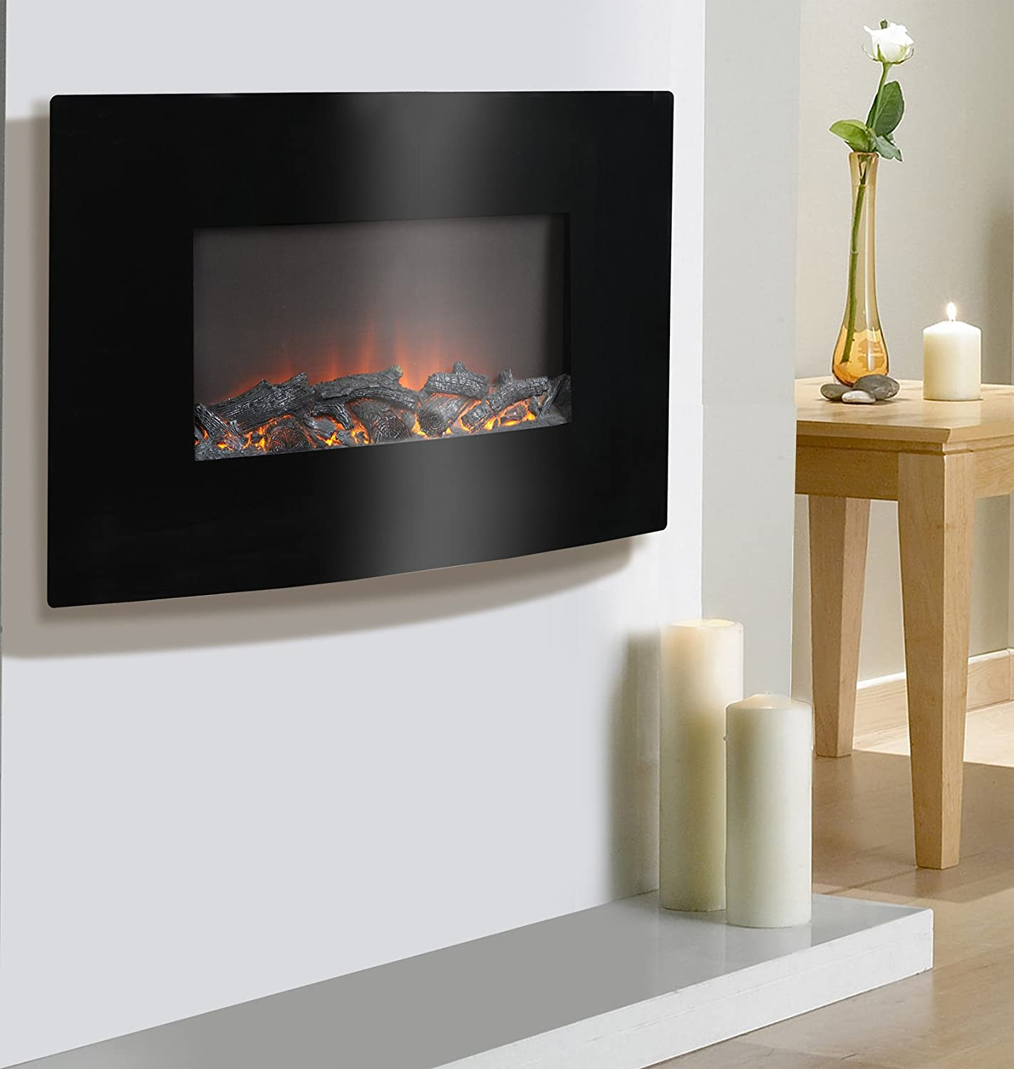 Fire sense black wood wall mounted electric fireplace import it all - Amazon Com Homestar Zodensa Wide Wall Mount Firebox 34 63 X 4 75 X 22 88 Black Home Kitchen