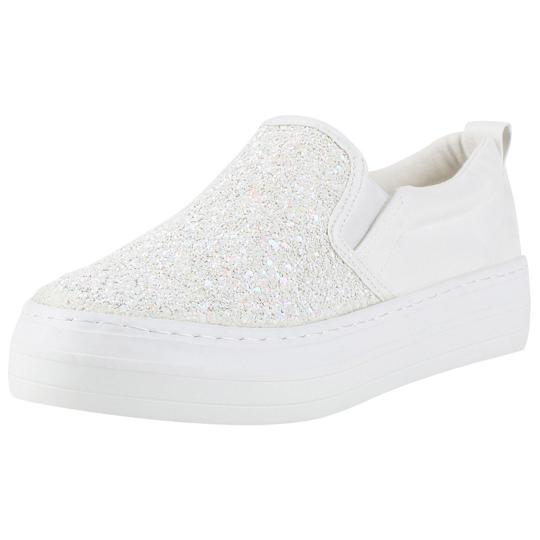 Japado Damen Sneaker Slip-Ons mit Plateau Glitzer  37 EU Wei?