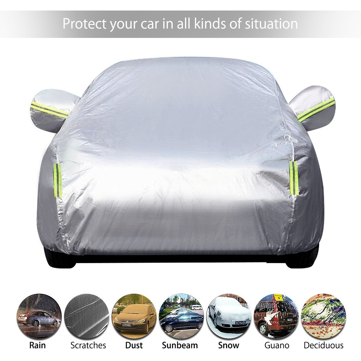 197Lx75Wx59H MATCC Car Cover Waterproof Snowproof and UV Proof Outdoor or Indoor Breathable Auto Cover for Full Car Fits Sedan Protect from Moisture Corrosion Dust Dirt Scrapes