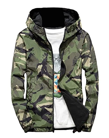00a39aed634be Freely Mens Camo Hoodies Baseball Zipper Windbreaker Two-Sided Jacket Coat  Army Green S