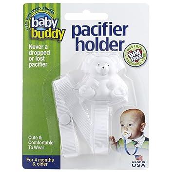 dummy pacifier clip baby girl white pink chevron teddy bear clip