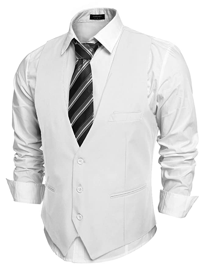 1920s Style Mens Vests COOFANDY Mens V-Neck Sleeveless Slim Fit Jacket Casual Suit Vests $27.99 AT vintagedancer.com