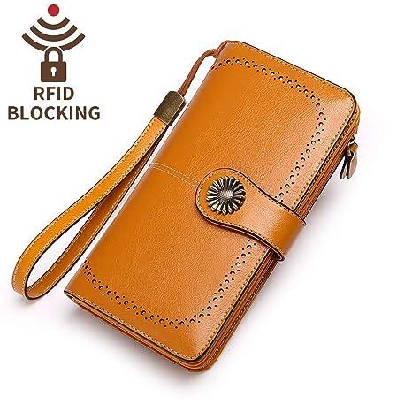 Amazon.com: Keleel cartera de cuero genuino con bloqueo RFID ...