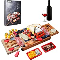 Hecef Acacia Wood Cheese Board Set, Square Cheese Platter with 2 Slide-Out Drawers& Cutlery Set& Snack Plates& Marble…