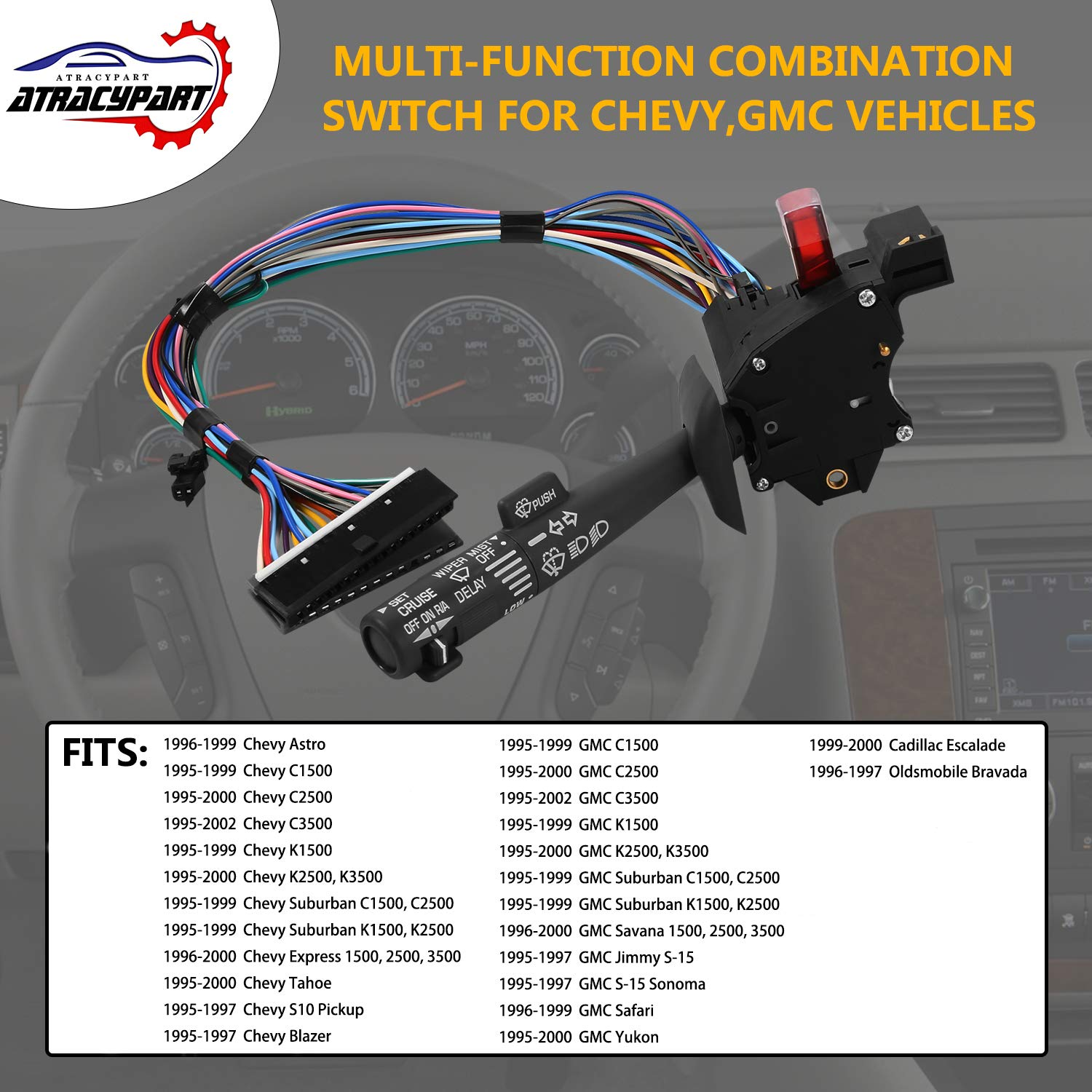 Multi Function Combination Switch For Chevy Tahoe 1995 Blazer Abs Wiring Suburban K1500 Sierra Replaces Part 2330814 26100985 26036312 Turn Signal