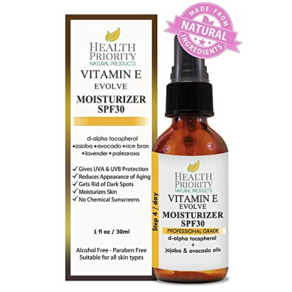 Protector hidratante natural con vitamina E + SPF 30. Protector solar hidratante, diario,
