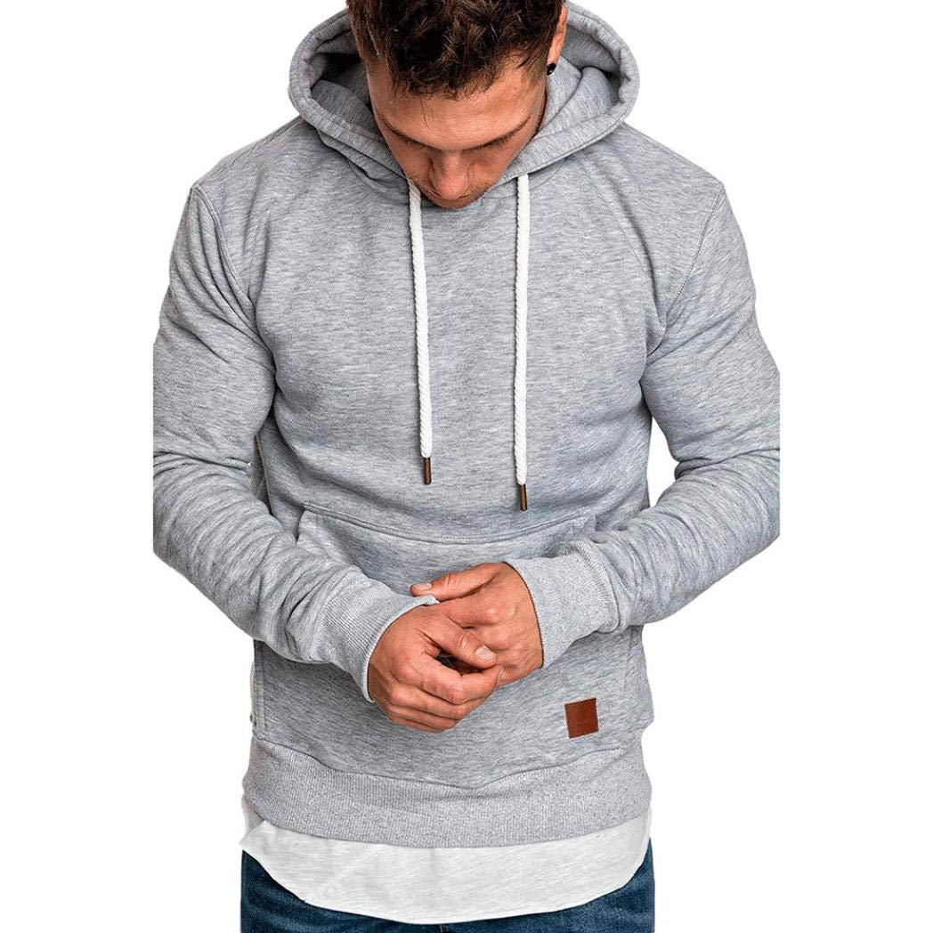 Man Hoodie, Ronamick Men's Long Sleeve Solid Autumn Winter Casual Sweatshirt Hoodies Top Blouse Tracksuits with Front Kangaroo Pocket