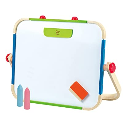 Early Explorer Anywhere Table Top Art Studio by Hape | Award Winning Double-Sided Wooden Kids Easel Whiteboard/Chalkboard with 2 Chalk Pieces, Eraser and Magnetic Wood Clamp for Paper: Toys & Games