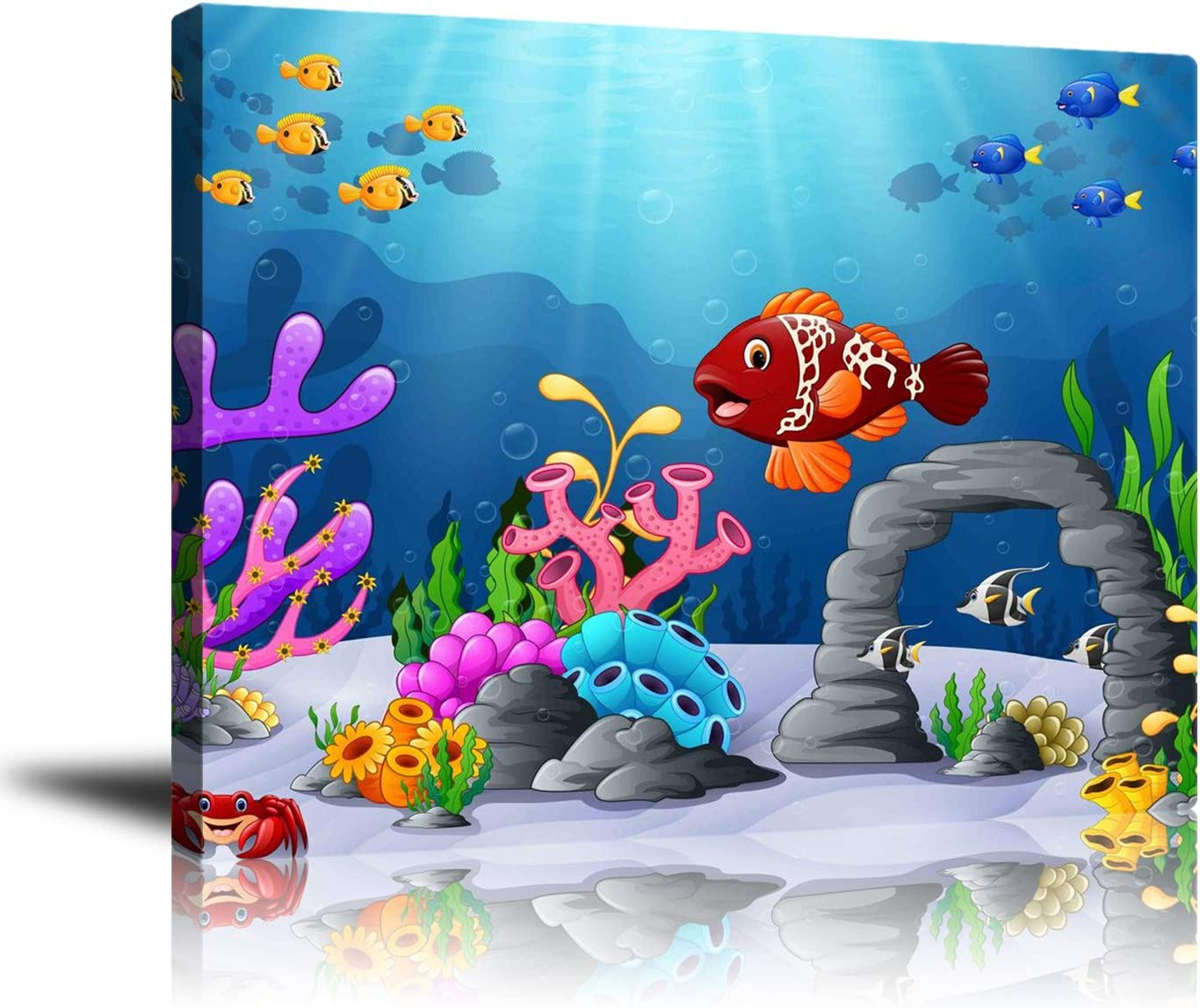 Amazon Com Wall Decor Unframed Canvas Wall Art Prints Cute Tropical Fish And Coral Picture Artwork Modern Home Decor Stretched And Unframed Ready To Hang 16x20inch Posters Prints