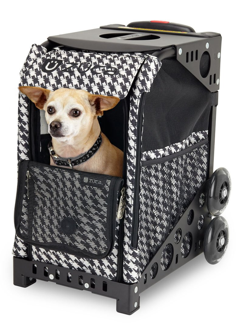 ZUCA Rolling Pet Carrier - Houndstooth Black Bag with Black Sport Frame and Flashing Wheels by ZUCA