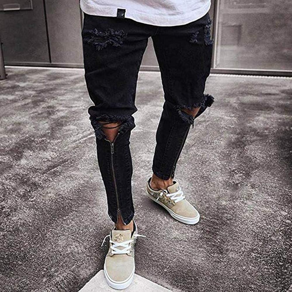 Pantalones de Mezclilla con Agujero en Relieve de los Pantalones ...