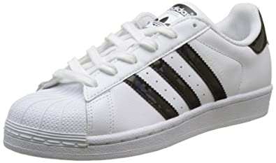 online store 6fb6b 2cfee adidas Youth Superstar White Black Leather Trainers 4 US
