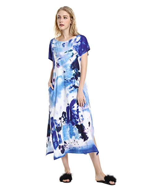 933ac61aae STYLE Women's Casual Side Slit Tie Dye T Shirt Maxi Dress with Pockets Blue