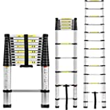 EQUAL Portable and Compact 13-Steps Telescopic Foldable Aluminium Ladder for Household and Outdoor Purpose (380 cm/12.5 ft, Anodized Silver)