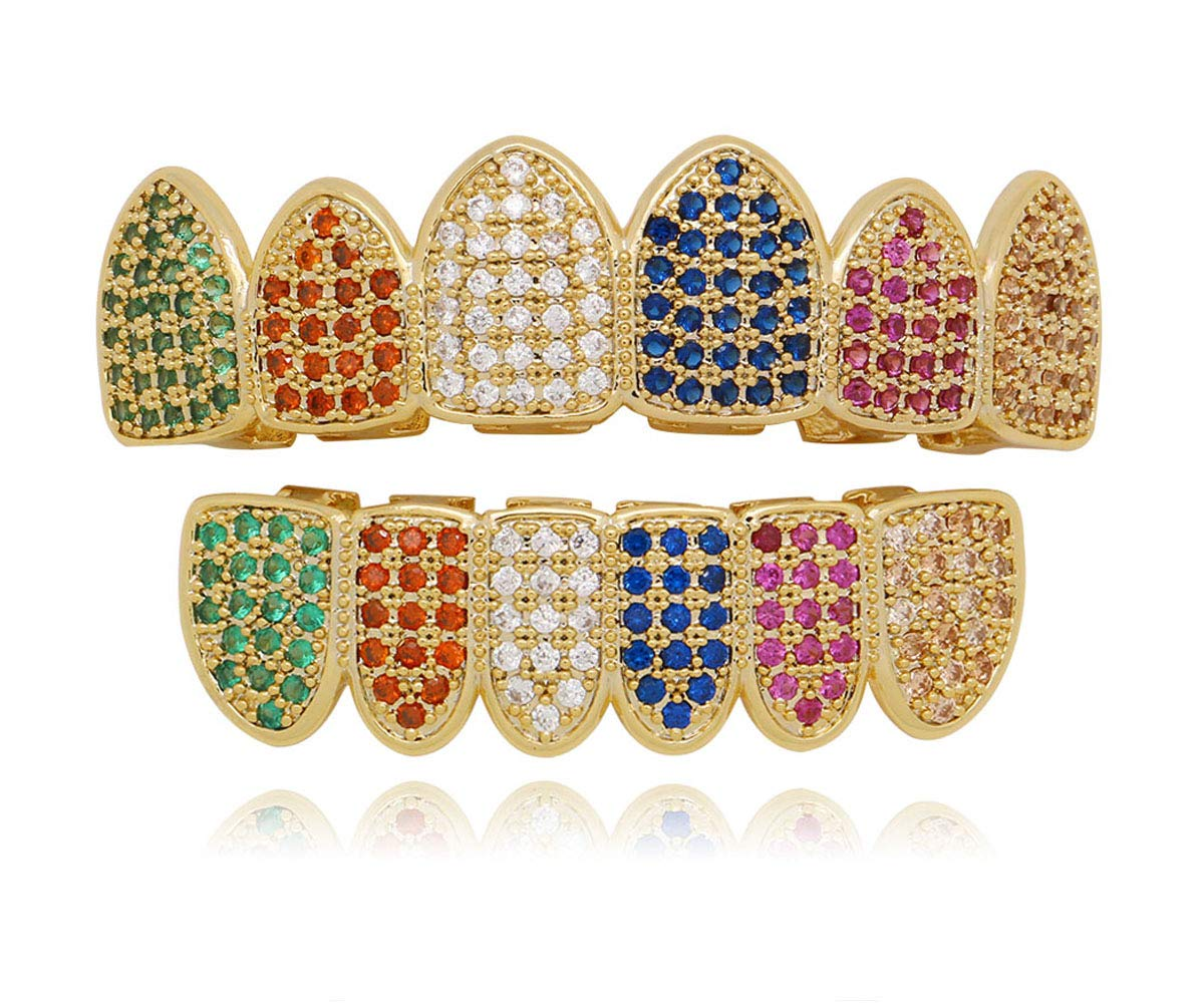 Lureen 14k Gold Plated Rainbow Pave Full Iced Out CZ Grillz Set + 2 Extra Molding Bars (Grillz Set)