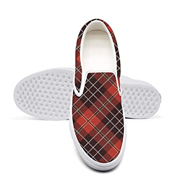 18f6feeee77b9 Amazon.com | Black British Plaid Red Mosaic Lattice Classic Women's ...